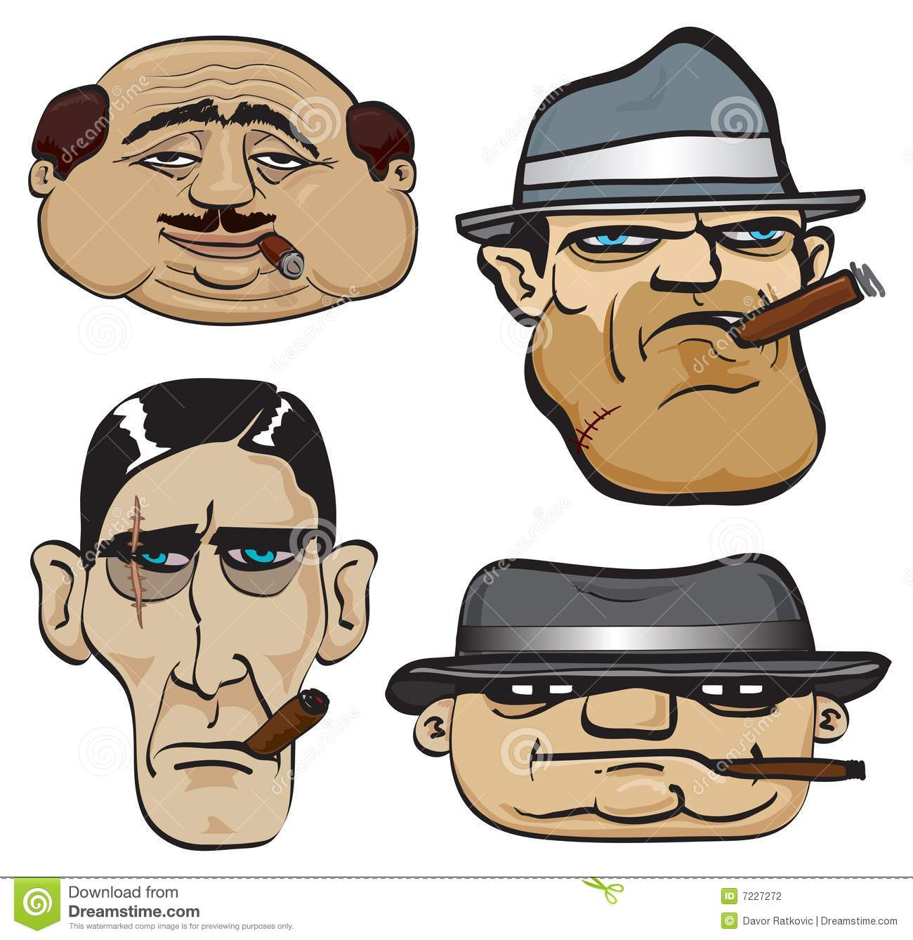gangster faces stock vector illustration of boss gold 7227272
