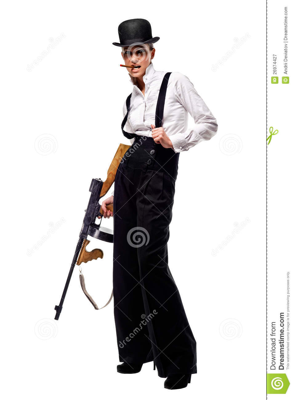 gangster girl holding thompson machine gun royalty free