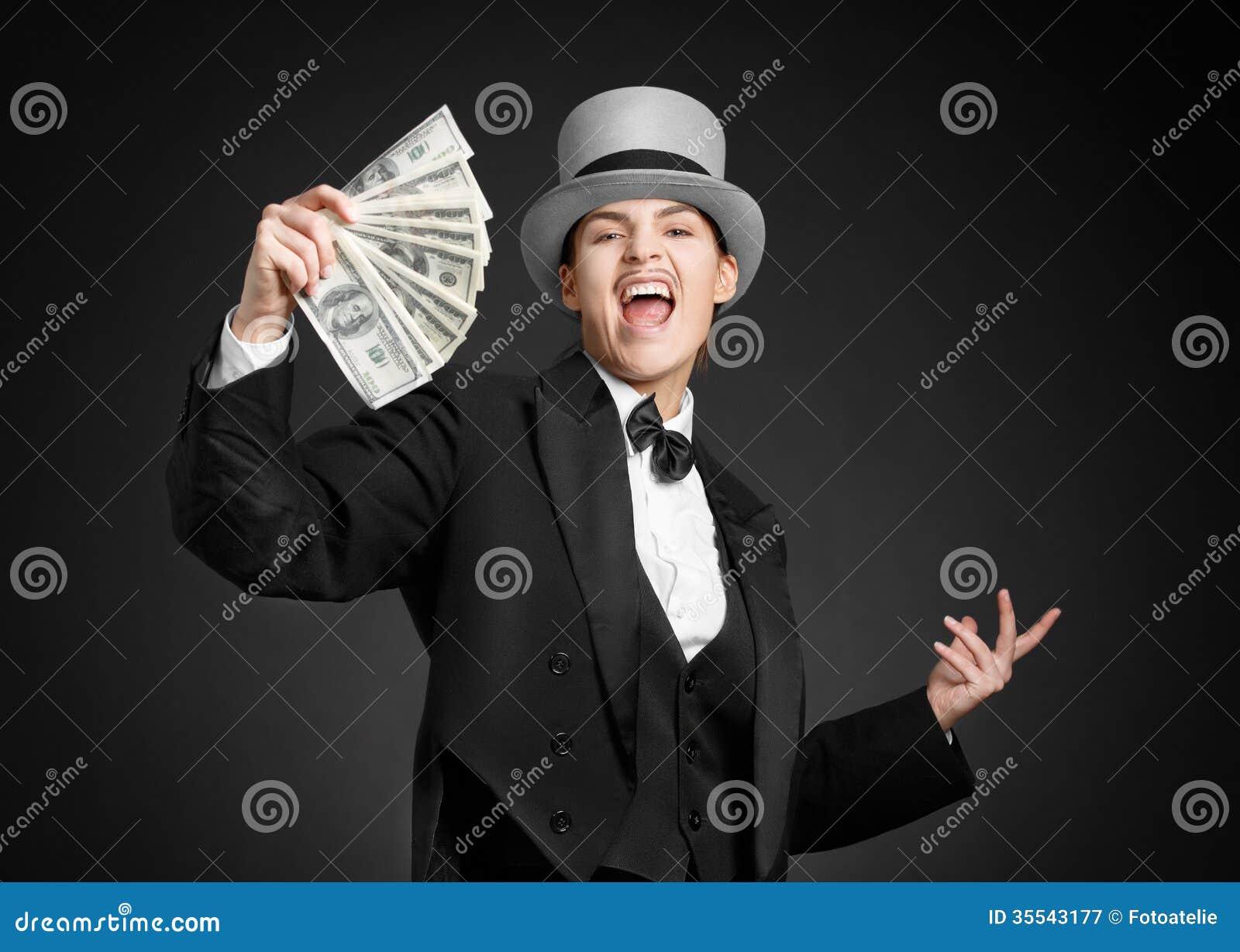 Gangster Girl Keeps Money In Hands Stock Image Image