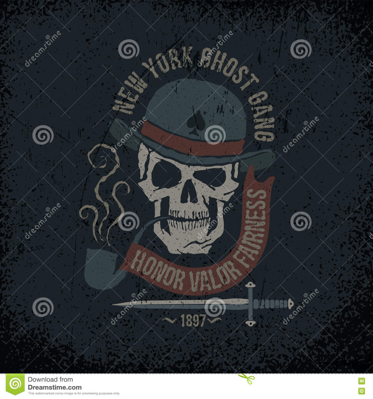ba544753 Gangster grunge logo with a skull in a bowler hat, with a pipe, dagger and  banner. Textures on separate layers - easily editable.