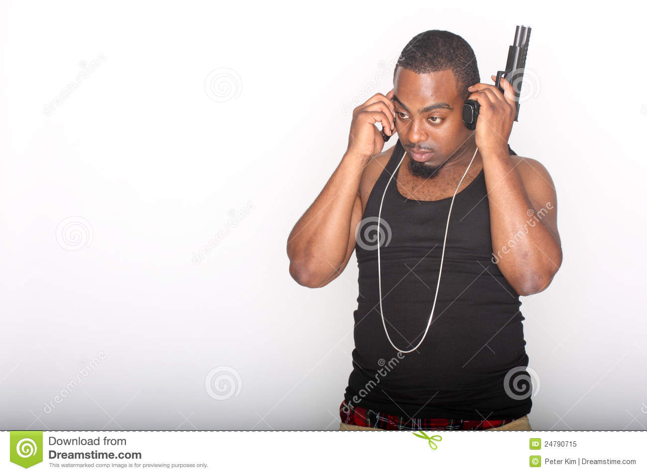 Gangster with phone and gun