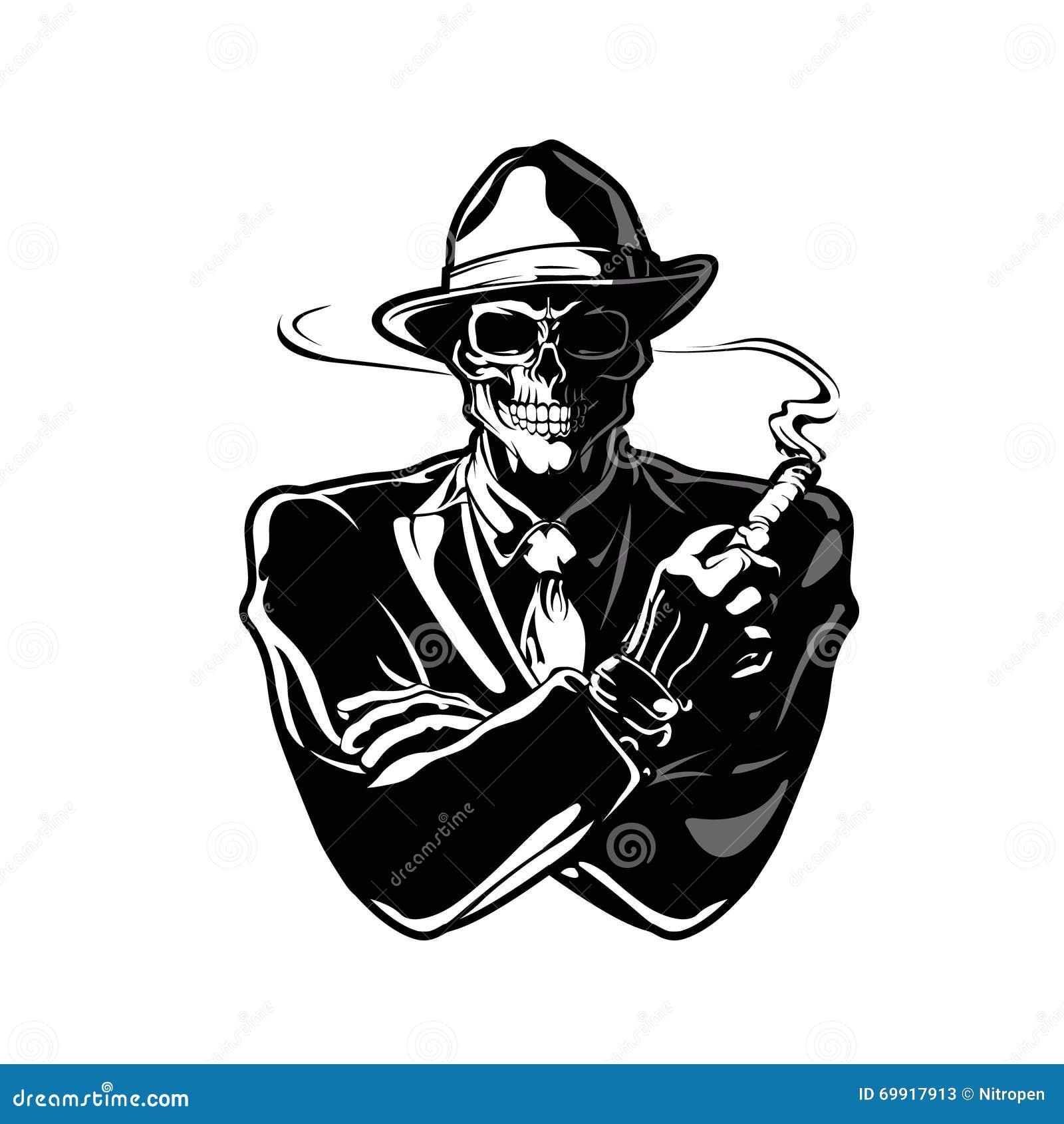 Gangster Skull Cartoon Stock Illustration Illustration Of