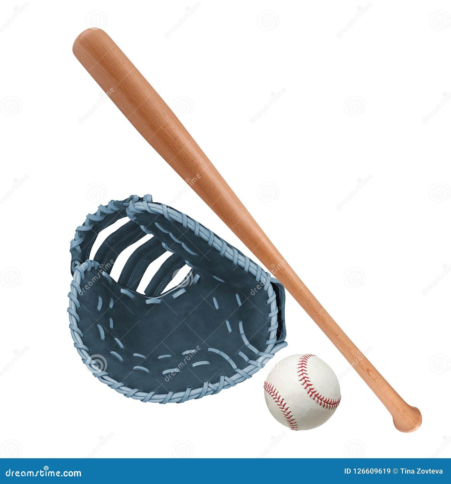 Gant en cuir avec le base-ball et la batte
