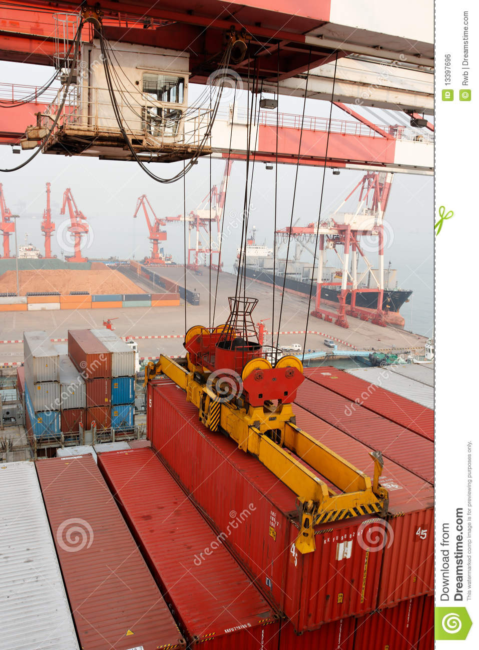 Harbor Freight Gantry Crane >> Gantry Crane Loads Container Onto Freighter Ship Royalty Free Stock Image - Image: 13397696