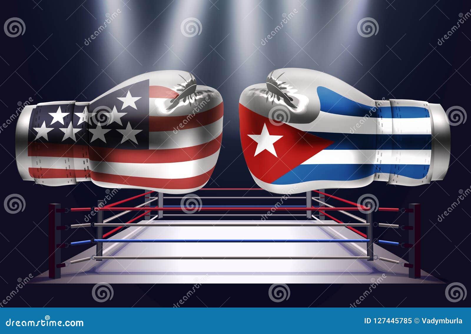 Gants de boxe avec des copies des Etats-Unis et des drapeaux du Cuba faisant face à chacun