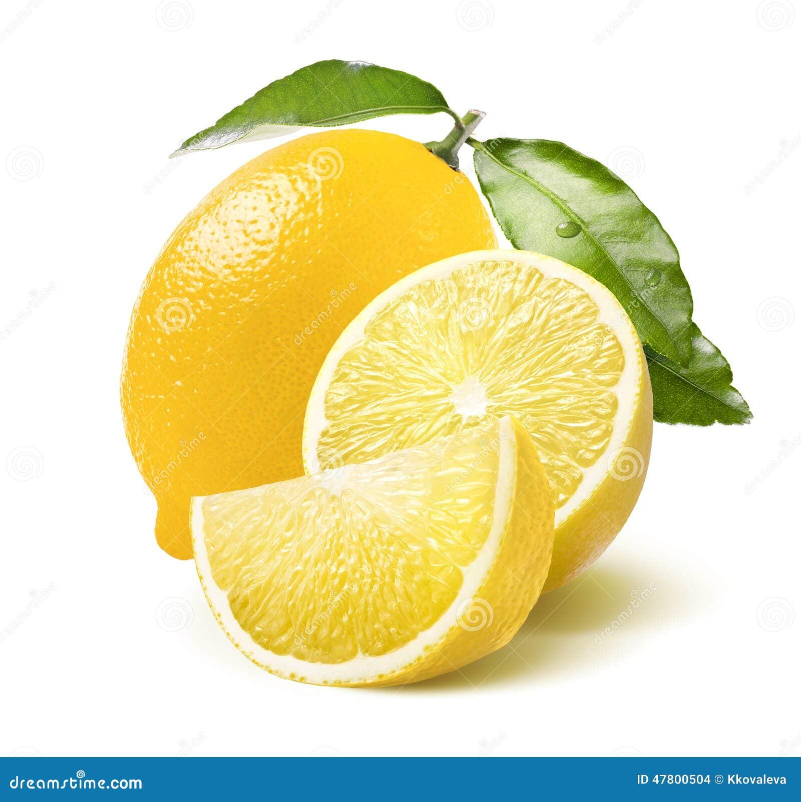 Ganze Zitronen-, Hälfte- und Viertelscheibe lokalisiert auf Weiß
