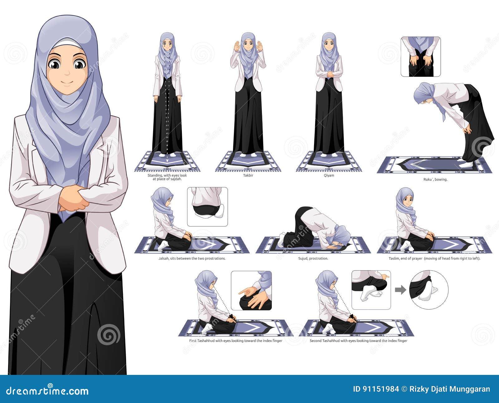 Ganzer Satz des moslemischen Frauen-Gebets-Positions-Führers Schritt für Schritt