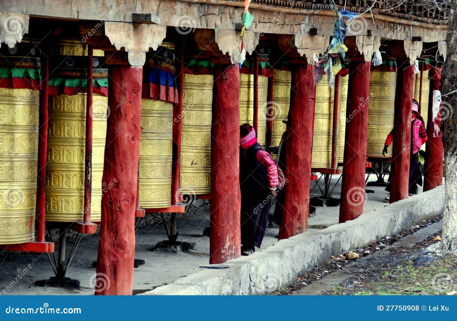 Ganzi, Chine : Roues de prière tibétaines