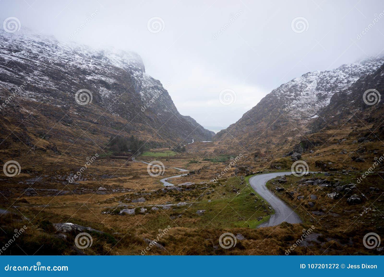 Gap van Dunloe in de Winter, Killarney, Republiek Ierland