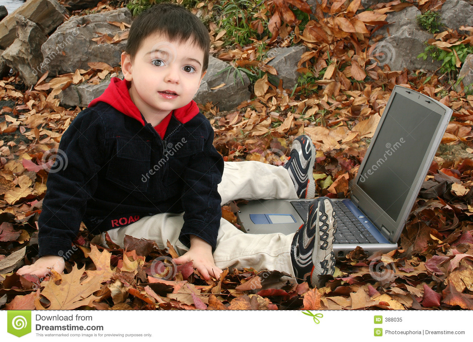 Garçon adorable dans des lames avec l ordinateur portatif
