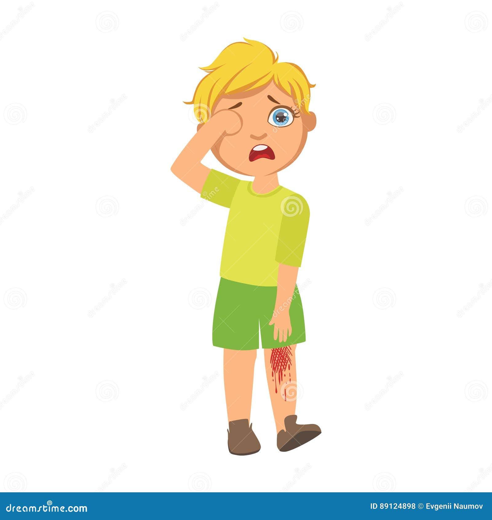 Gar on avec le genou ray par saignement enfant malade se sentant souffrant en raison de la - Dessin du genou ...