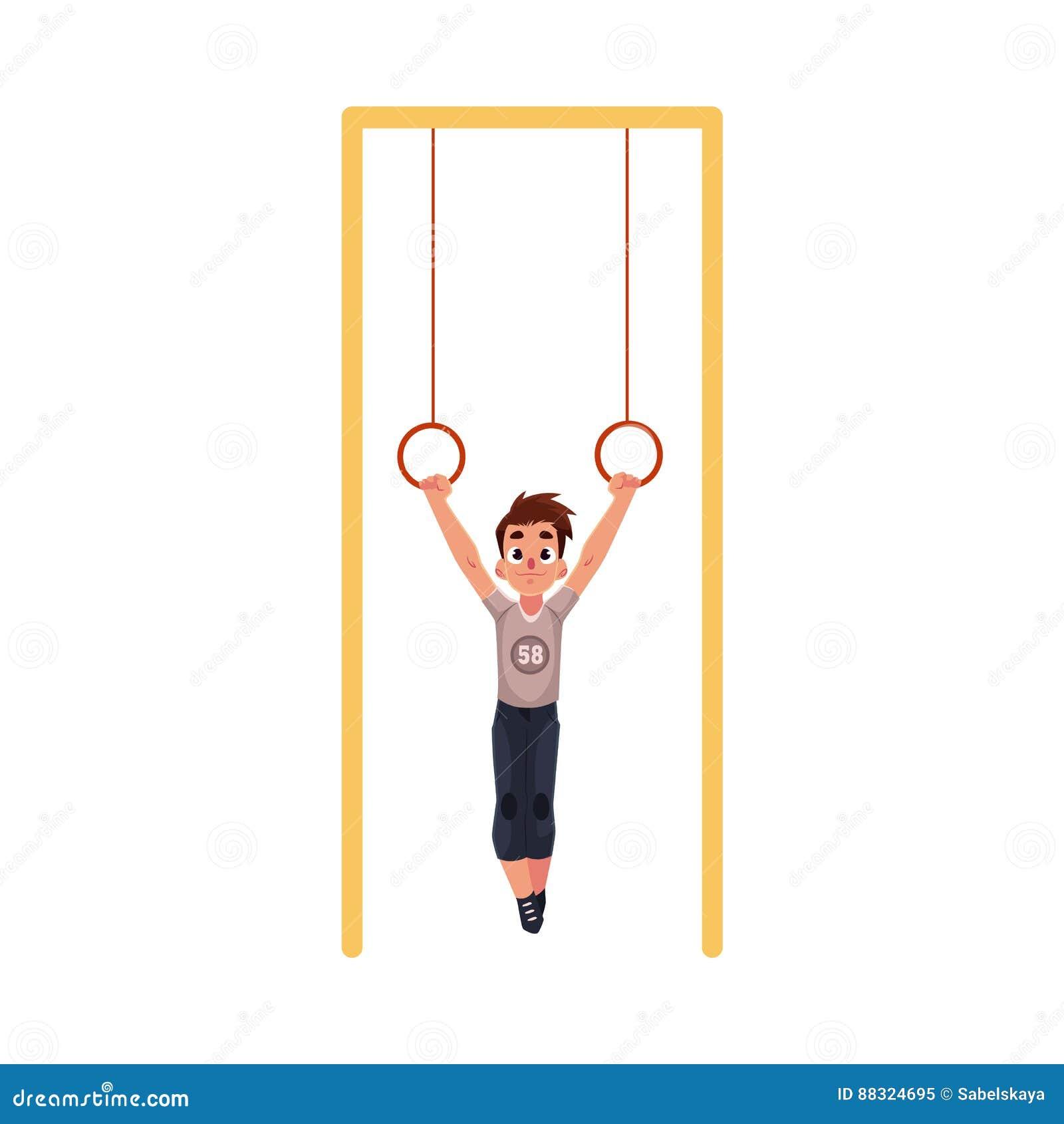 Garçon caucasien adolescent accrochant sur les anneaux gymnastiques au terrain de jeu