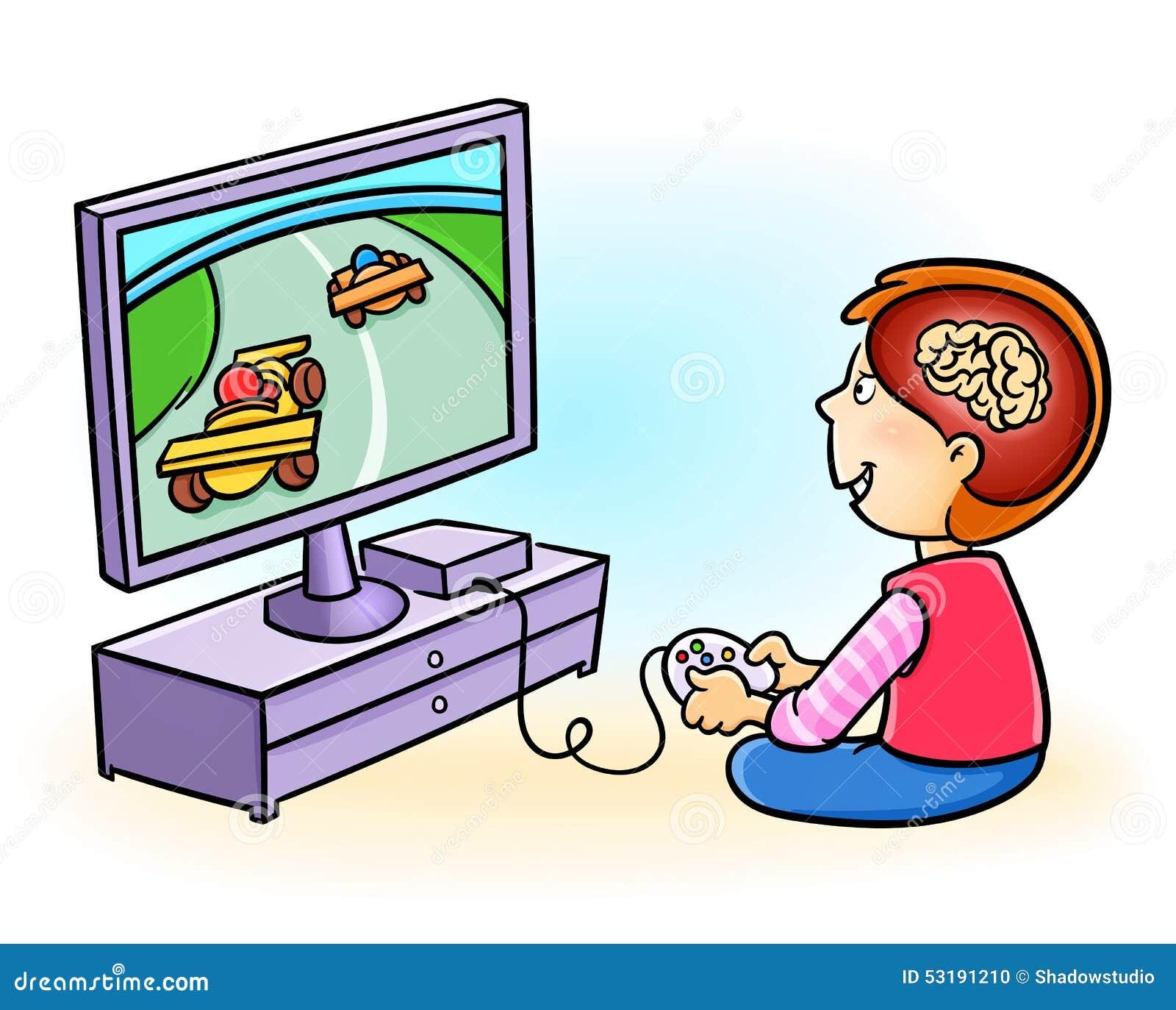 Gar on d pendant jouer des jeux vid o illustration de - Jouer au coups de midi gratuitement ...