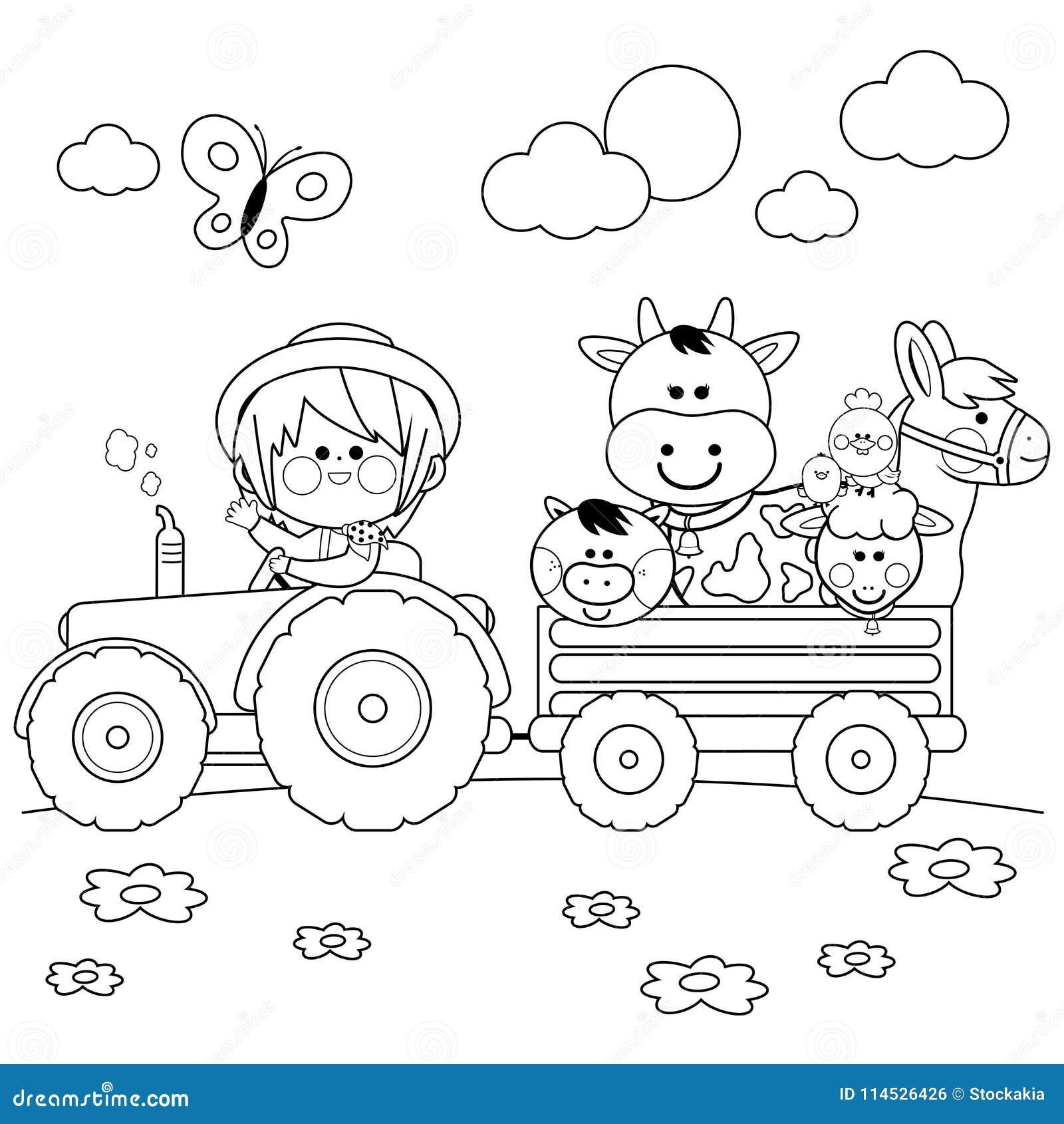 Garcon D Agriculteur Conduisant Un Tracteur Et Portant Des Animaux