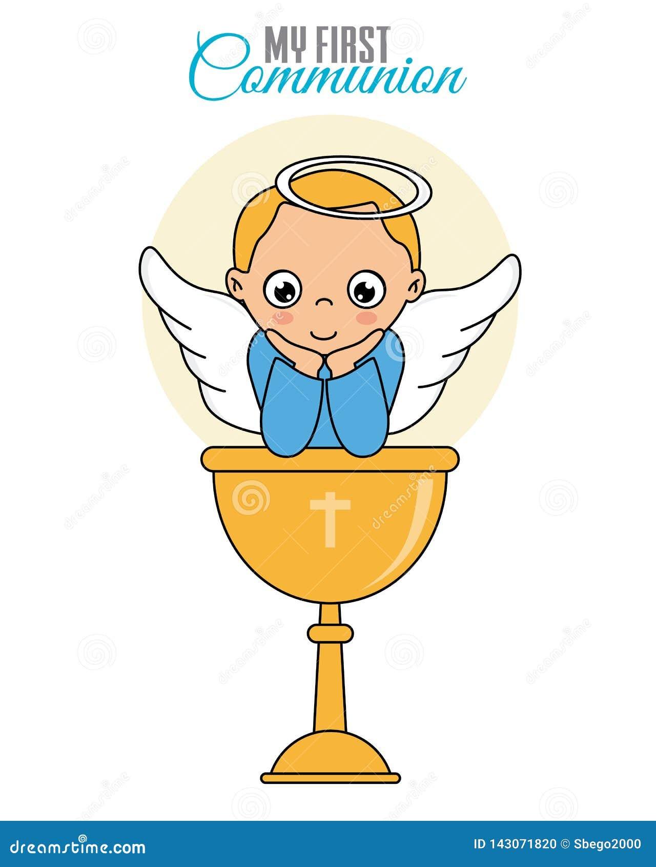 Garçon d ange avec le calice