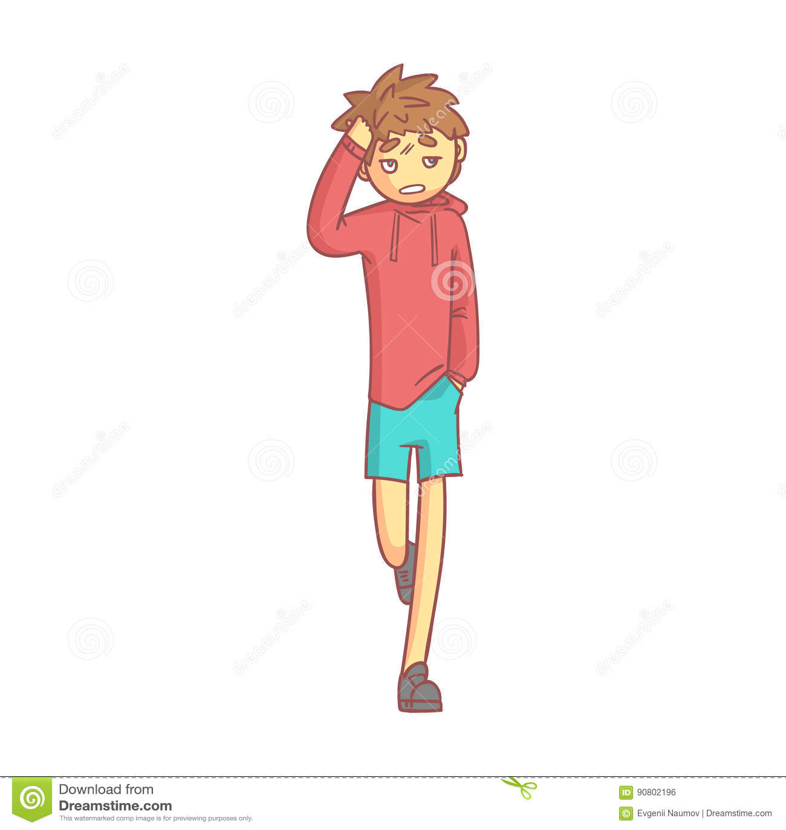 Garcon Dans Un Hoodie Rouge Et Des Shorts Bleus Touchant Sa Tete