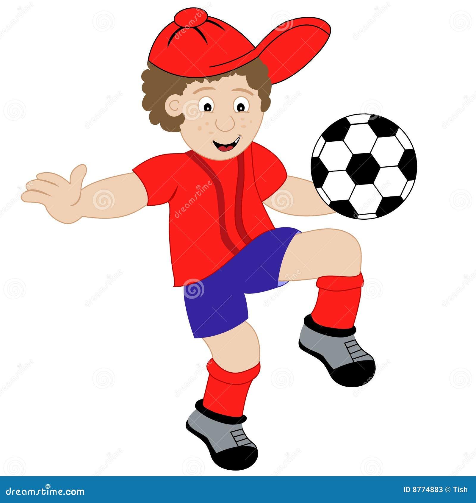 Dessin Anim 9 Ans: Garçon De Dessin Animé Jouant Au Football Illustration De