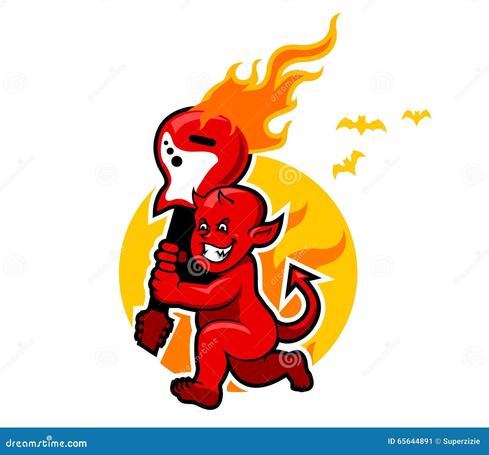 Garçon de diable rouge et guitare flamboyante