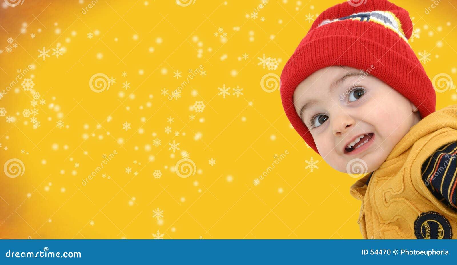 Download Garçon De L'hiver Sur Le Fond Jaune Lumineux De Flocon De Neige. Photo stock - Image du snowflake, gosses: 54470