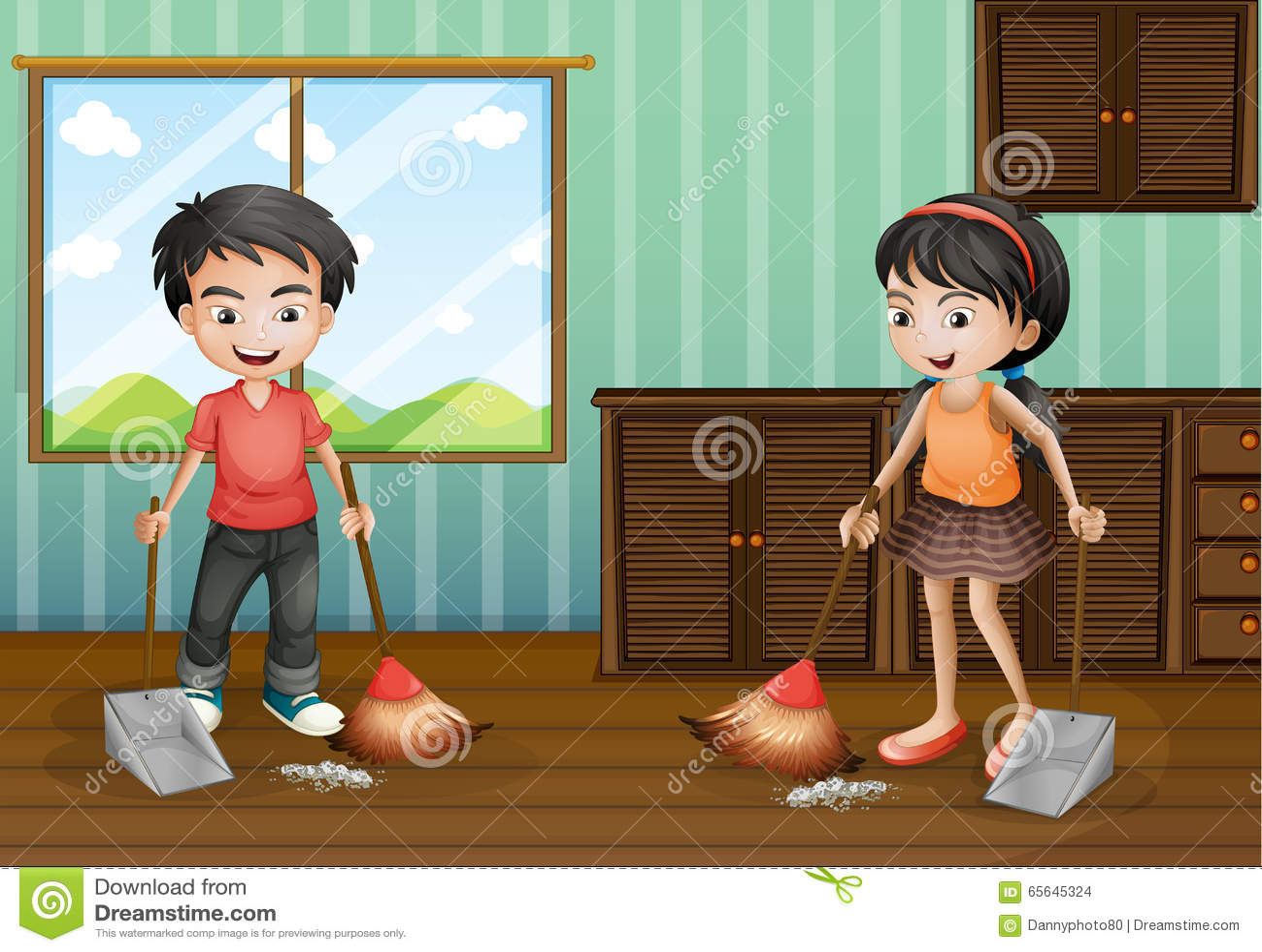Garçon et fille balayant le plancher