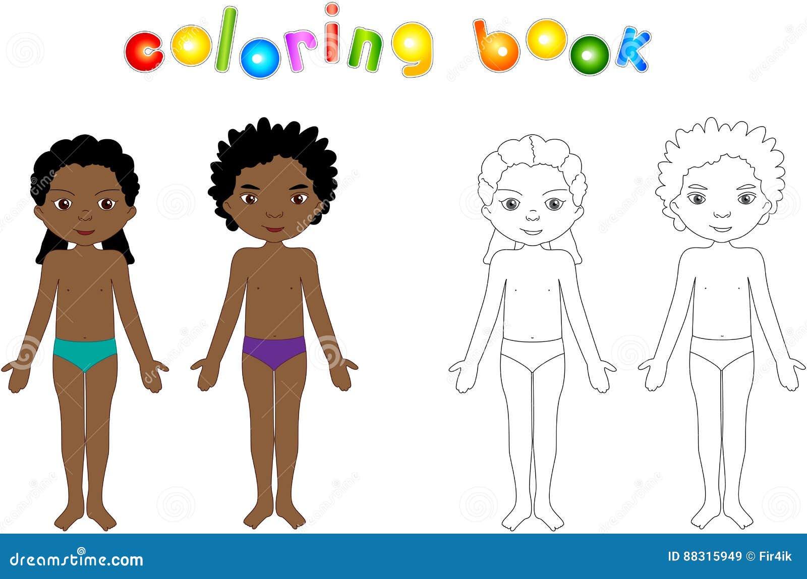 Garçon Et Fille Dévêtus Livre De Coloriage éducatif Pour Des Enfants