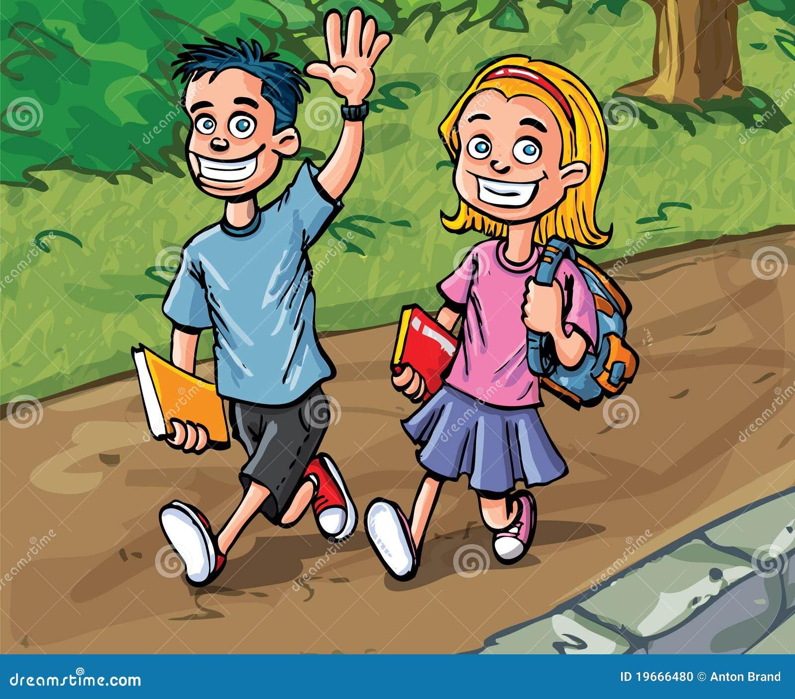 Gar on et fille de dessin anim allant l 39 cole illustration de vecteur image 19666480 - Dessin anime de corneil et bernie ...