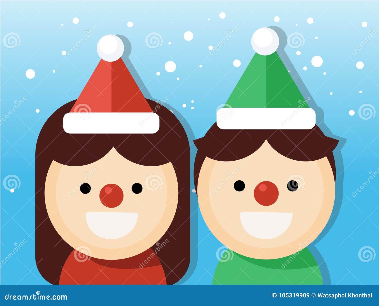 Garçon et fille mignons de Noël Partie de costumes de Noël sur le fond de chutes de neige