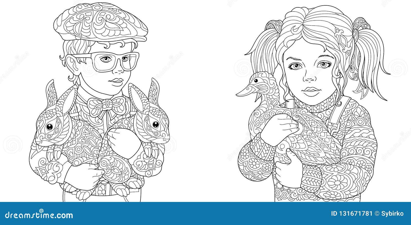 Garcon Et Fille Pages De Coloration Livre De Coloriage Pour Des Adultes Images De Coloration Avec Des Enfants Et Des Animaux De F Illustration De Vecteur Illustration Du Coloration Enfants 131671781