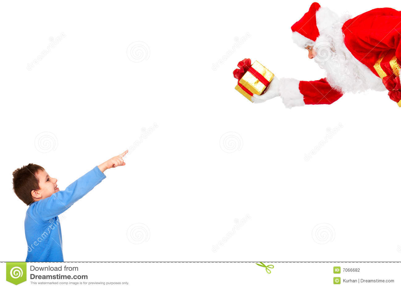 Garçon et Noël Santa