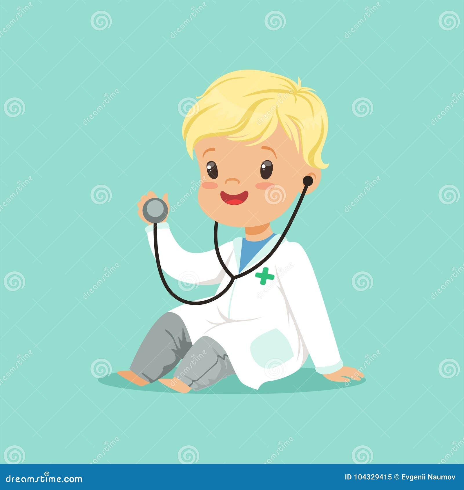 Garçon gai d enfant en bas âge dans la robe médicale blanche jouant le rôle de docteur avec le stéthoscope Illustration plate de