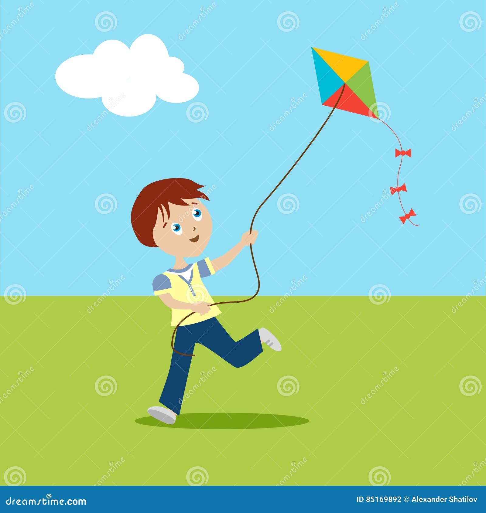 gar on jouant sur une pelouse verte enfant courant avec un cerf volant personnage de dessin. Black Bedroom Furniture Sets. Home Design Ideas