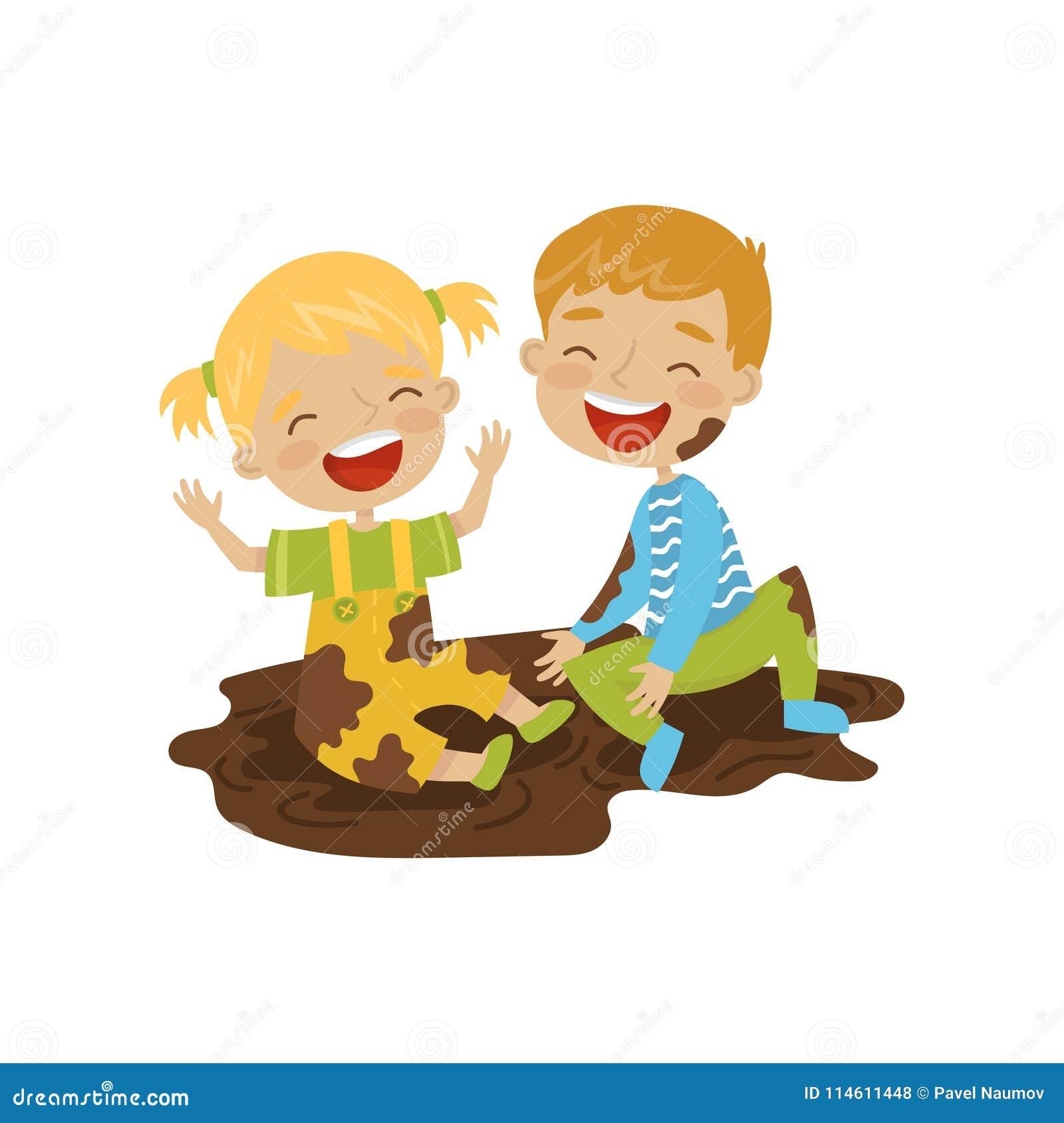 Garçon mignon et fille s asseyant dans une saleté, enfants gais de truand, mauvaise illustration de vecteur de comportement d enf
