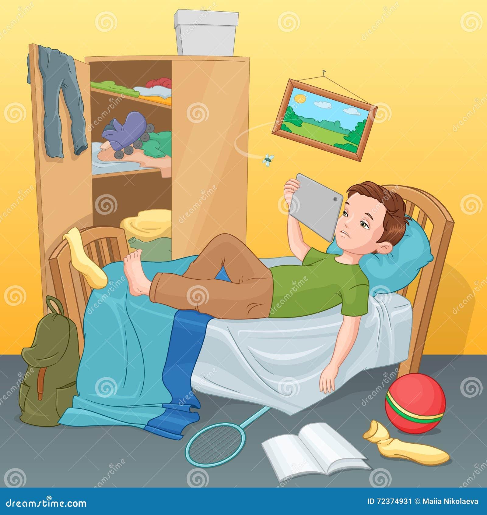 Garçon paresseux se trouvant sur le lit avec le comprimé Illustration de vecteur