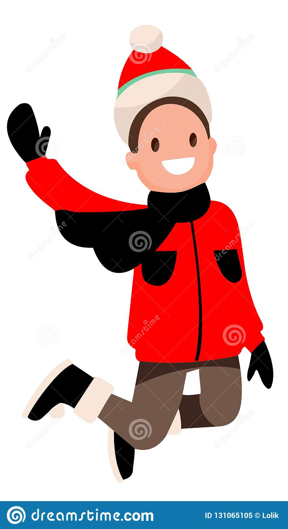 Garçon sur le fond blanc dans sauter rouge de vêtements