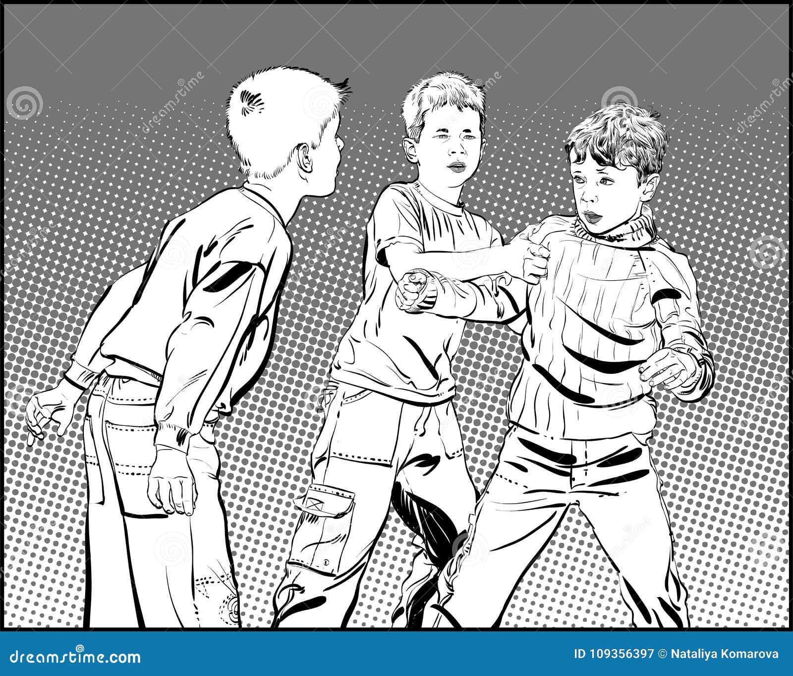 Garçons de voyou Garçons de l adolescence dans le combat de poing Garçons de combat