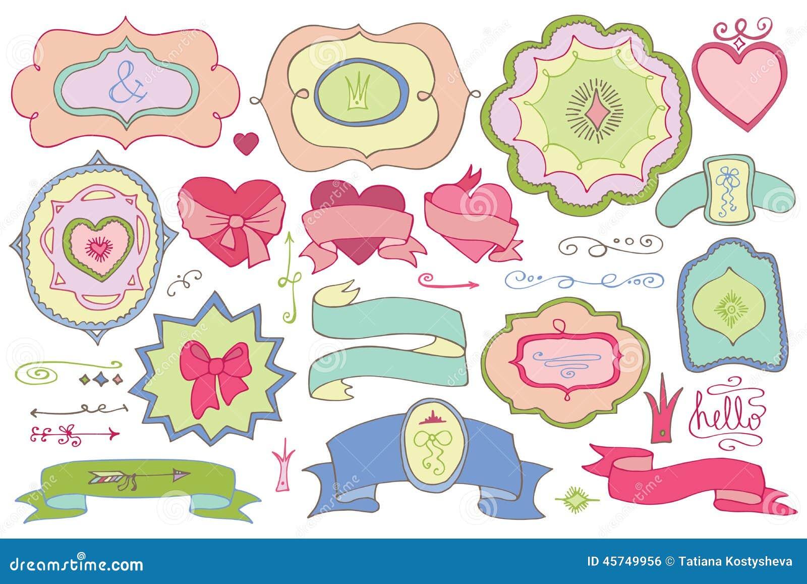 Garabatee las etiquetas coloreadas insignias elemento de - Plantillas de decoracion ...