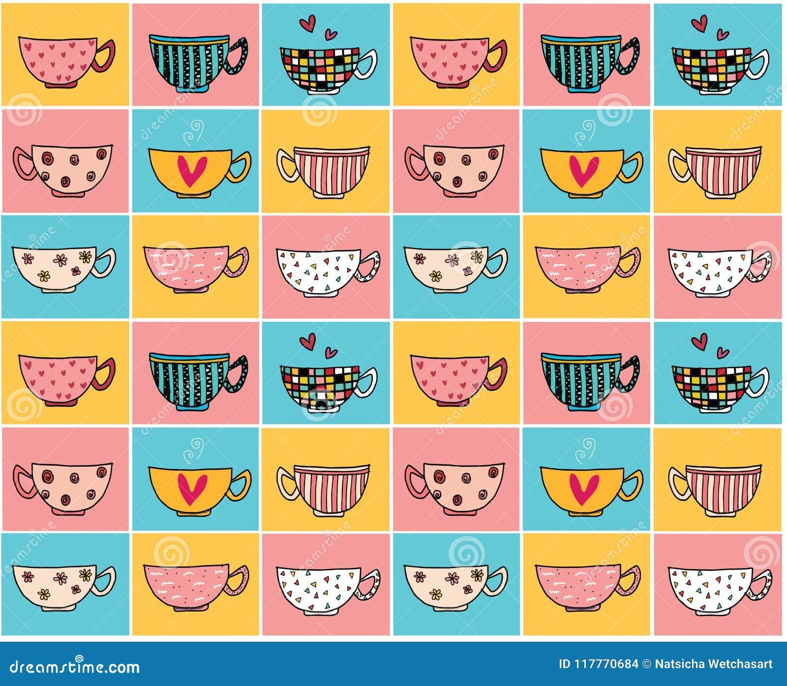 Garabatee las tazas de café del dibujo de la mano en diversos diseños en el modelo del fondo del vintage del color inconsútil