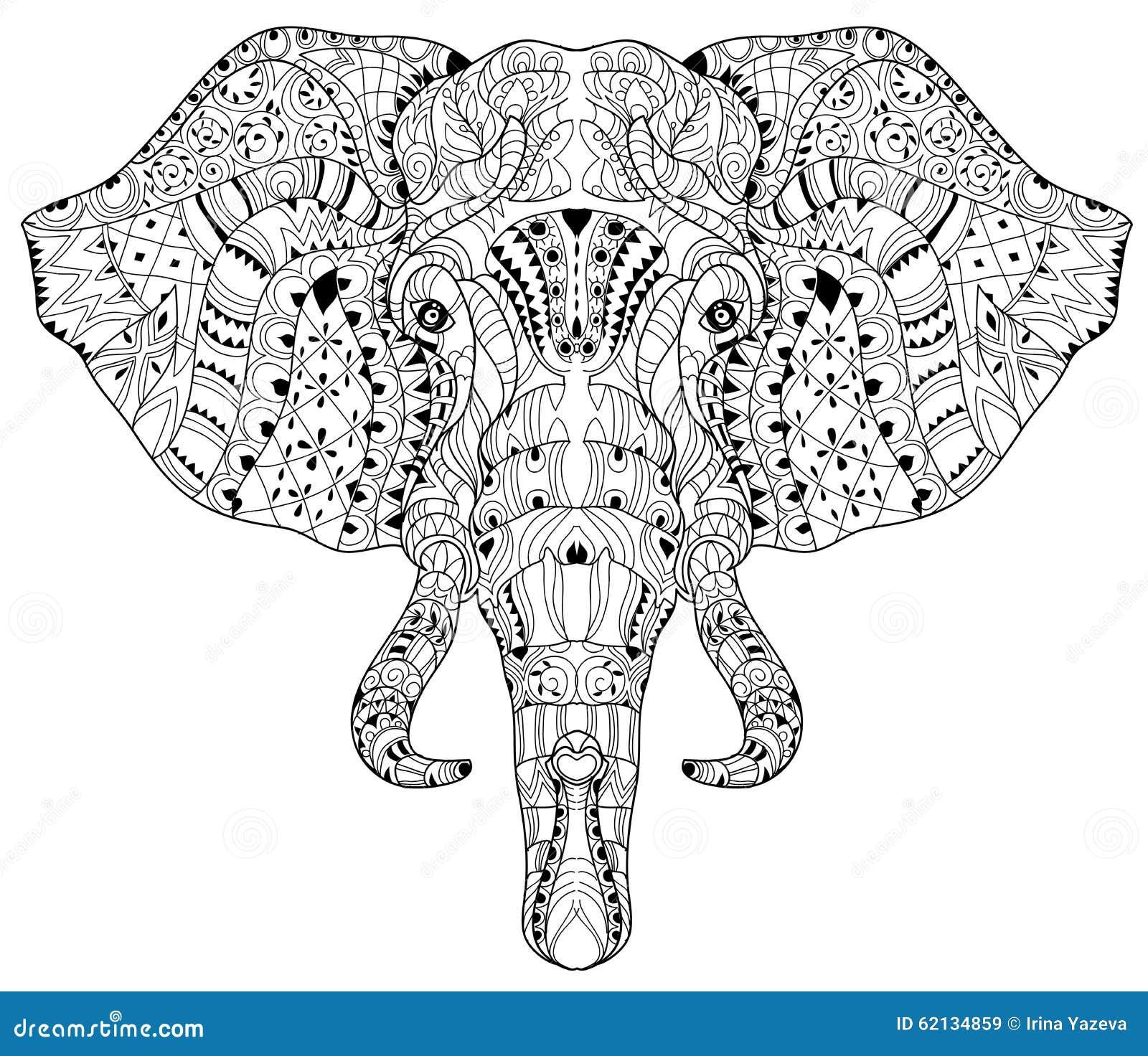 Garabato De La Cabeza Del Elefante En El Bosquejo Blanco Del Vector ...