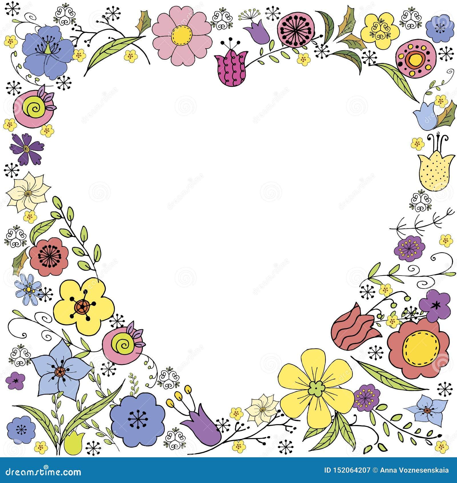 Garabato inverso del corazón con las flores coloridas y la inscripción en vector en el fondo blanco