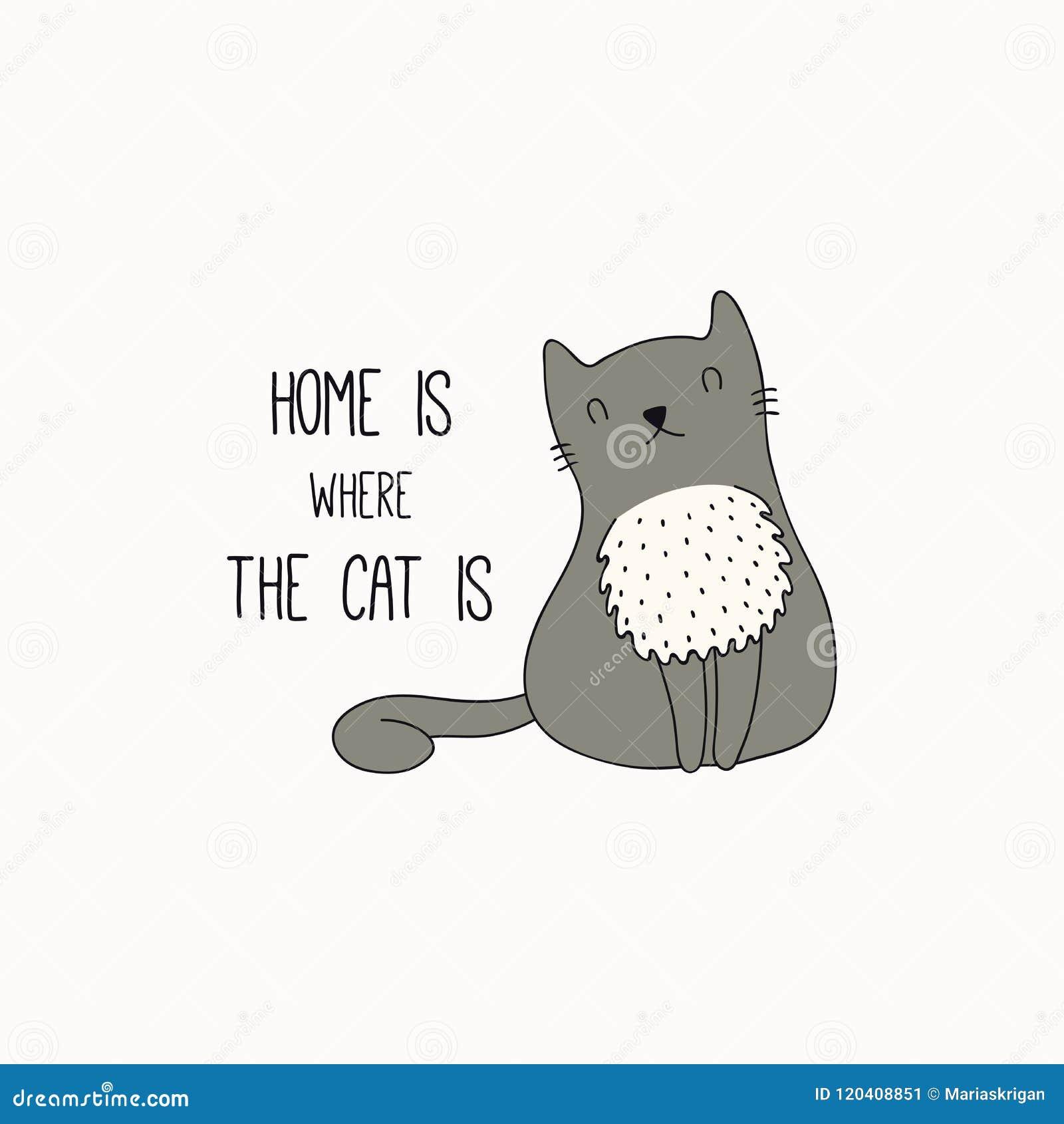 Garabato lindo del gato con cita