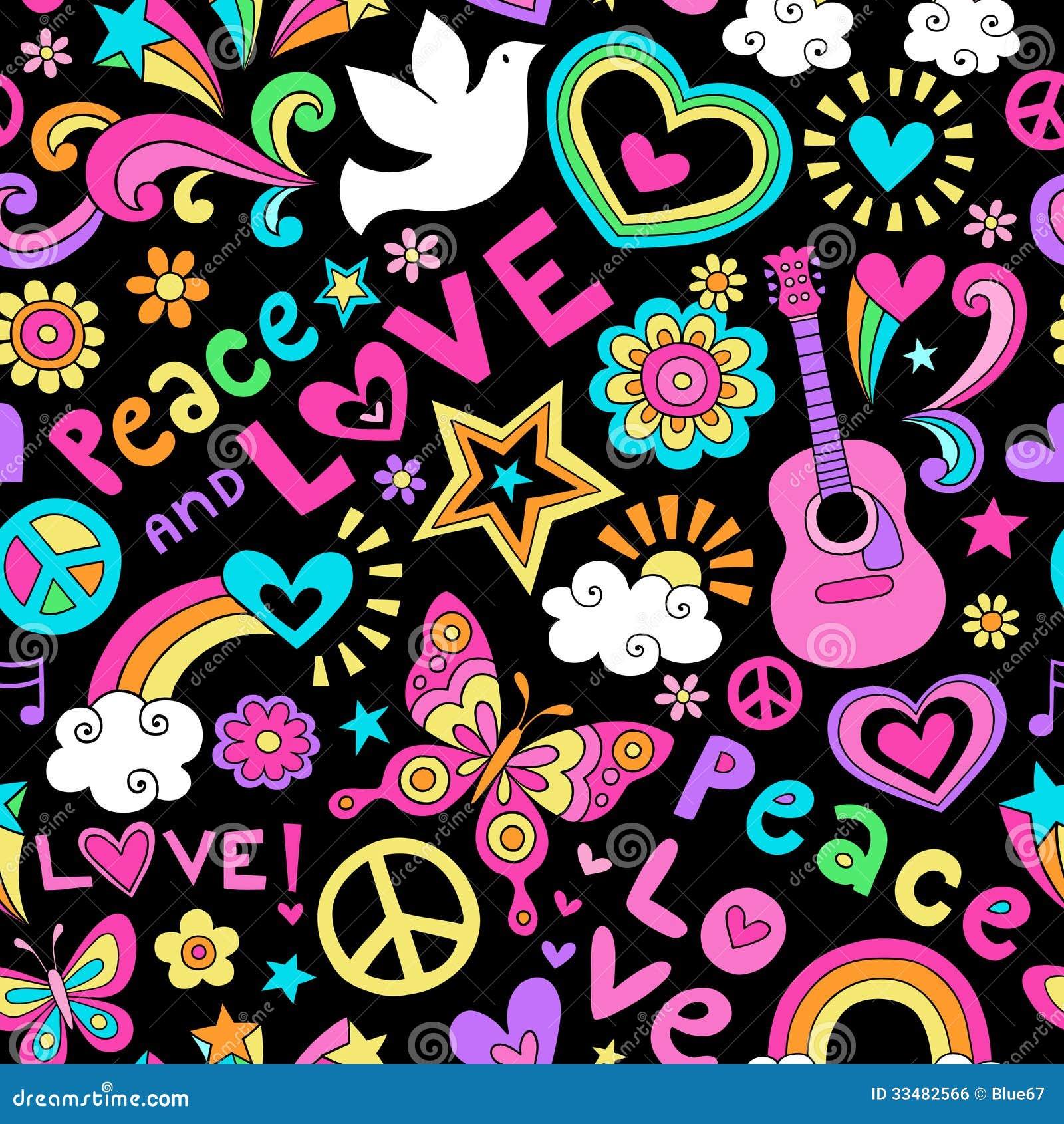 Garabato psicodélico del modelo inconsútil de la paz y del amor