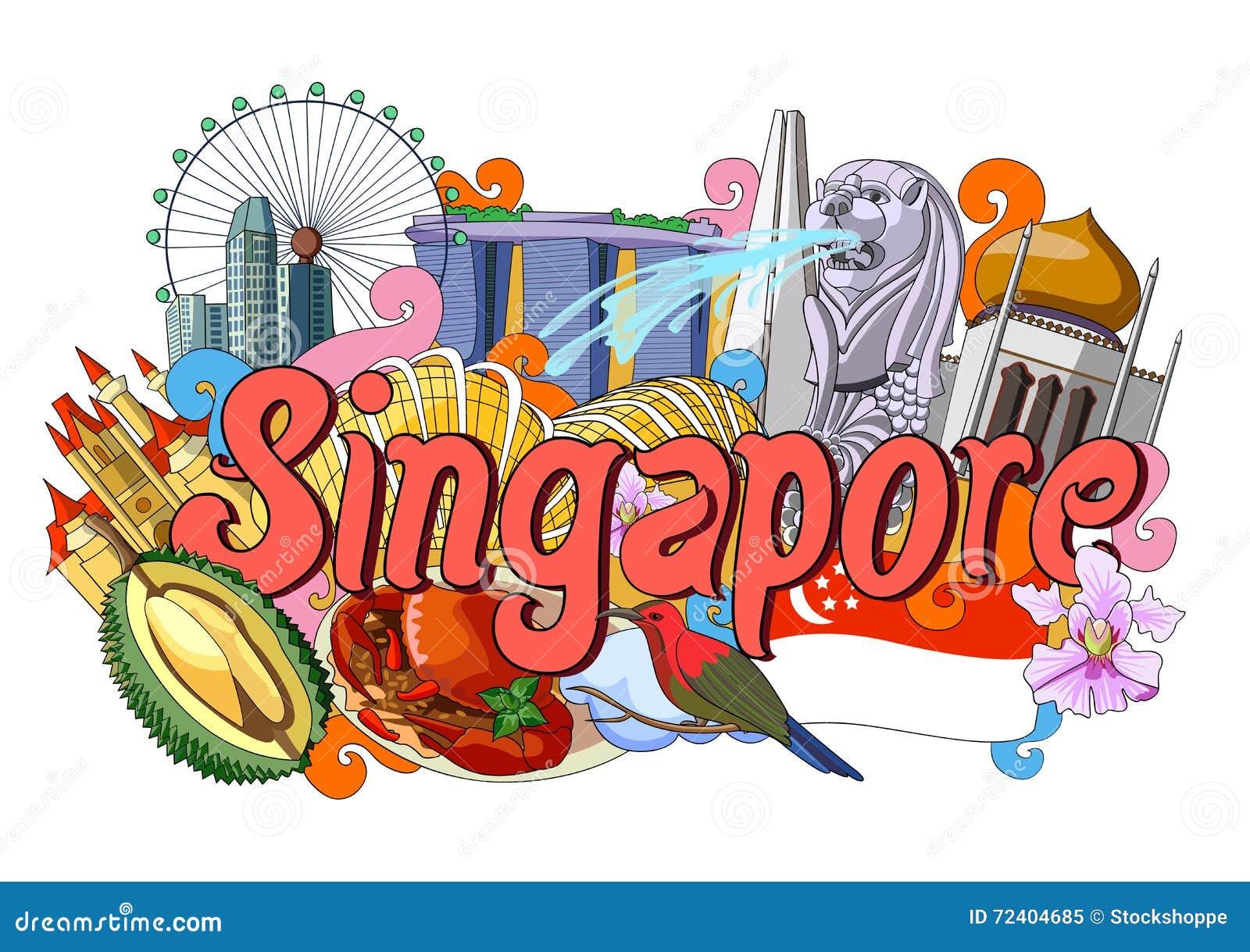 Garabato que muestra arquitectura y la cultura de Singapur
