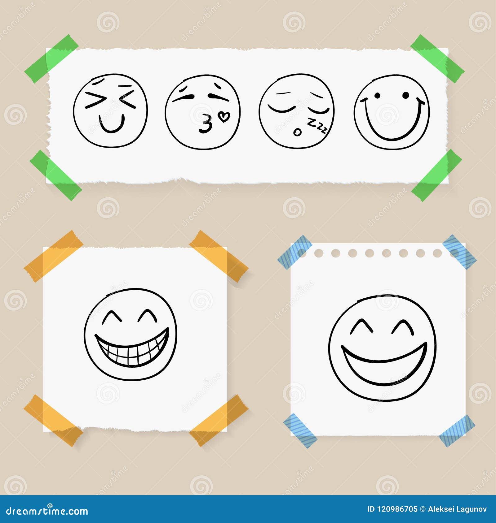 Garabato Smiley Faces dibujado mano del vector en los pedazos de papel atados por la cinta colorida, sistema
