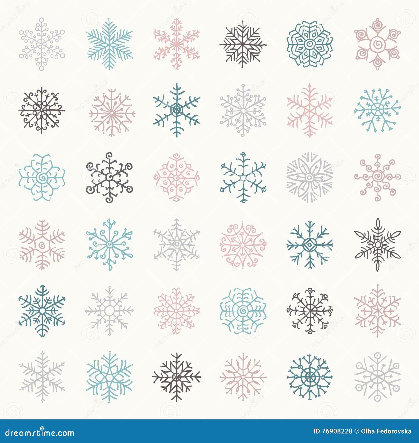 Garabatos coloridos de las escamas de la nieve del invierno Ilustración del vector