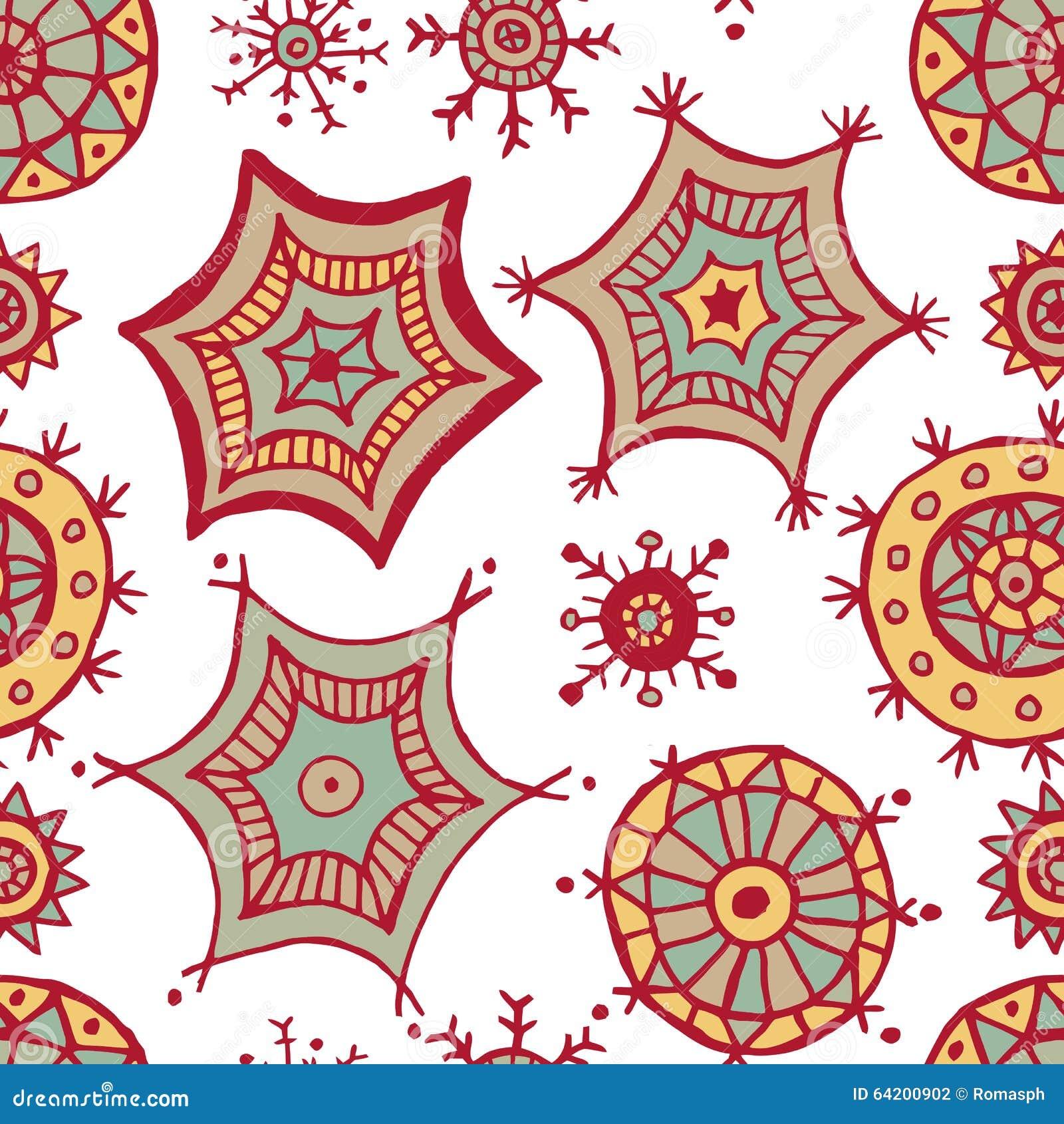 Garabatos coloridos dibujados mano de los copos de nieve