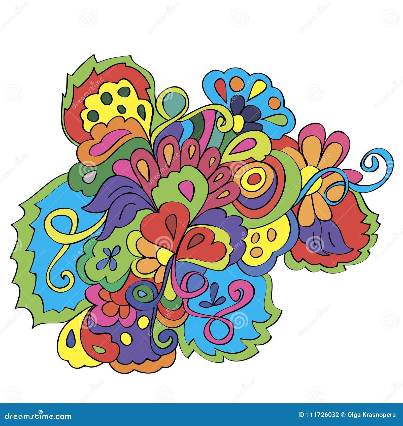 Garabatos con las flores y remolino