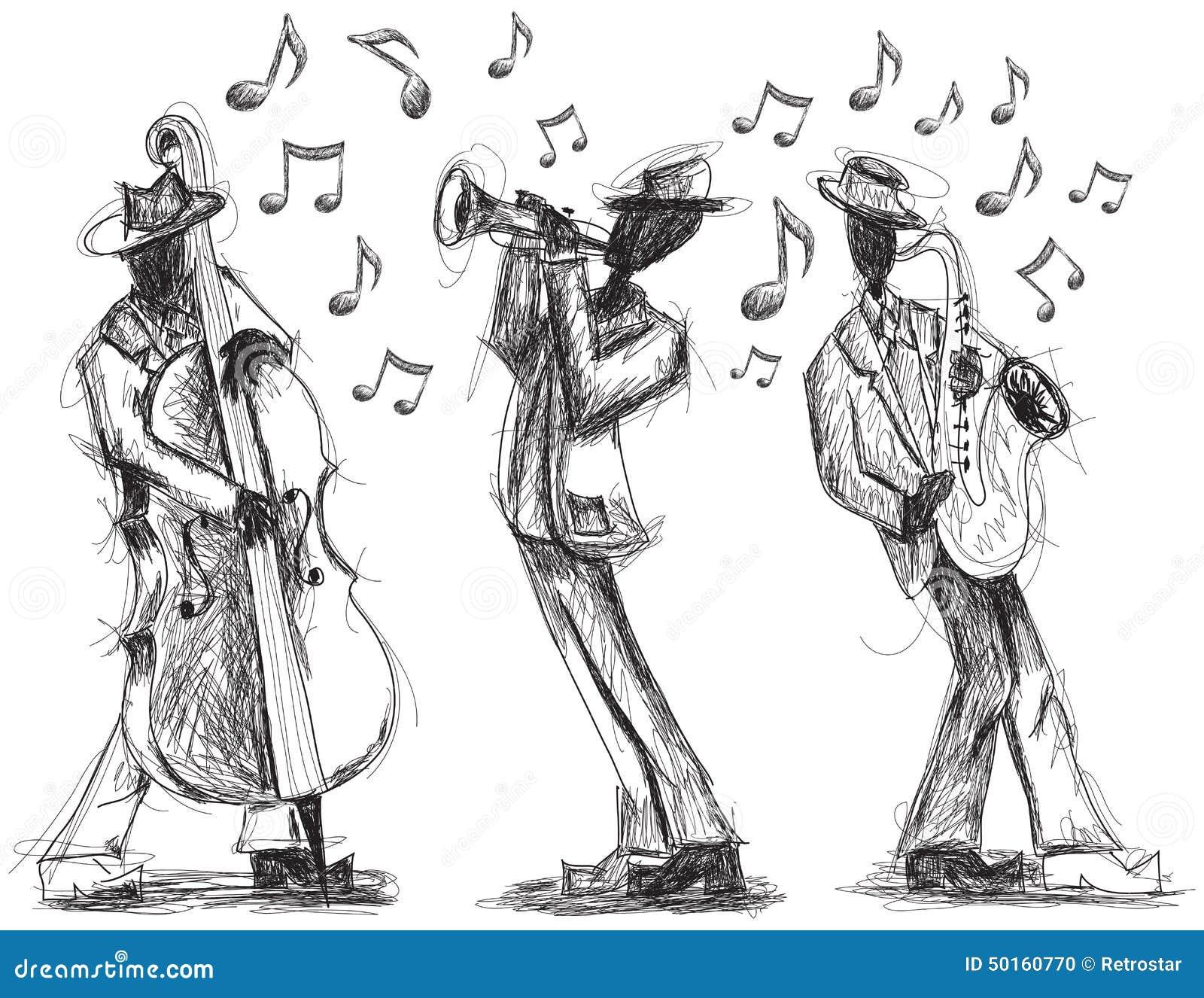 Garabatos de la banda de jazz