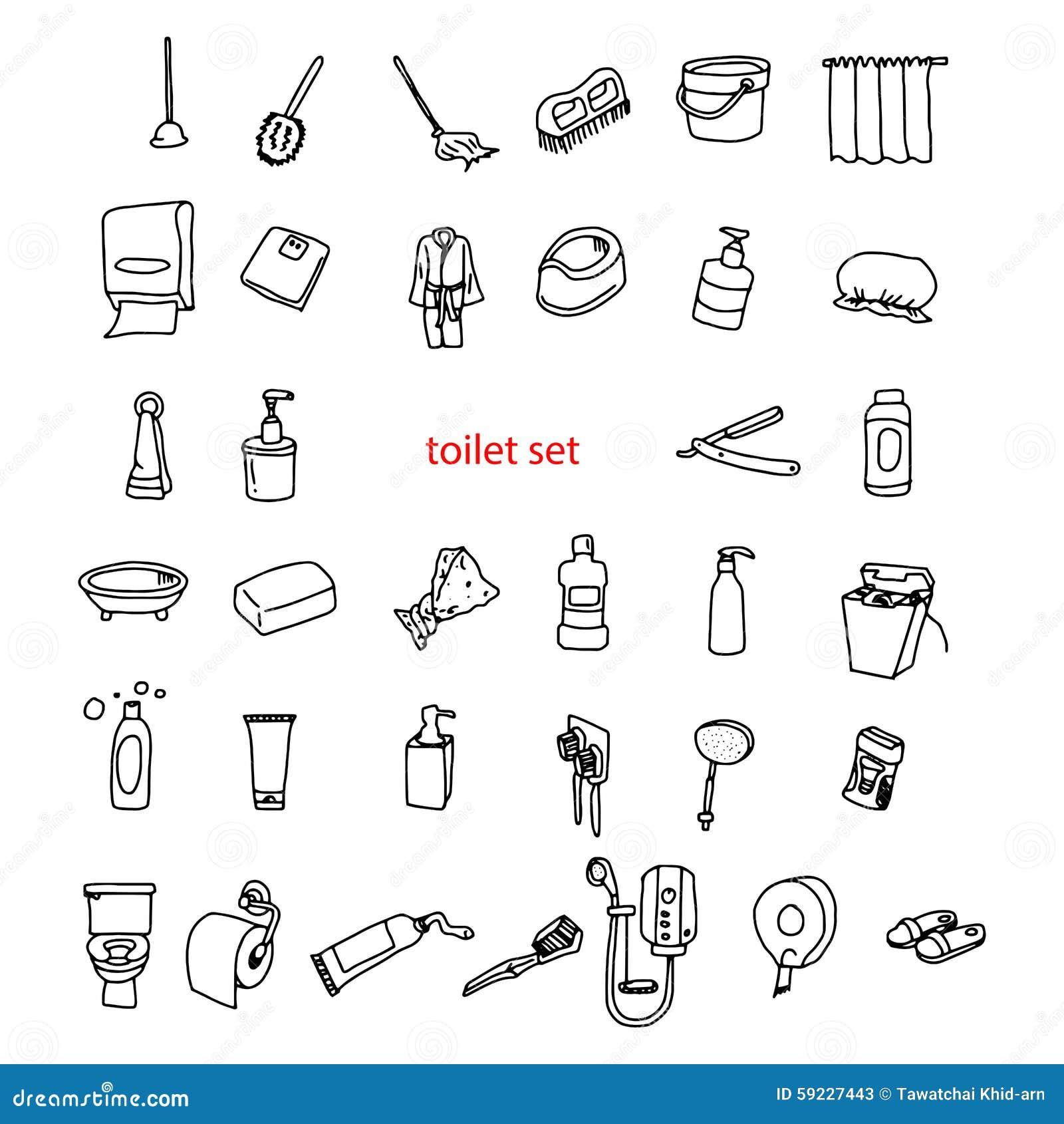 Download Garabatos Dibujados Mano Del Vector Del Ejemplo De Objetos En Sistema De Retrete Ilustración del Vector - Ilustración de ilustración, plato: 59227443