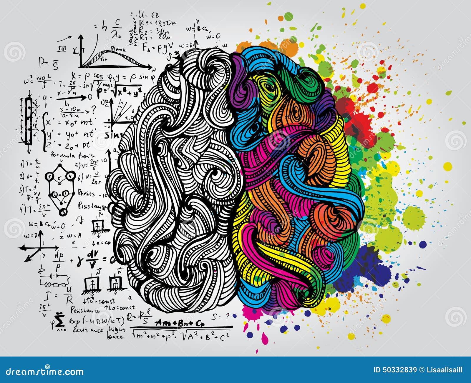 Garabatos incompletos brillantes sobre cerebro