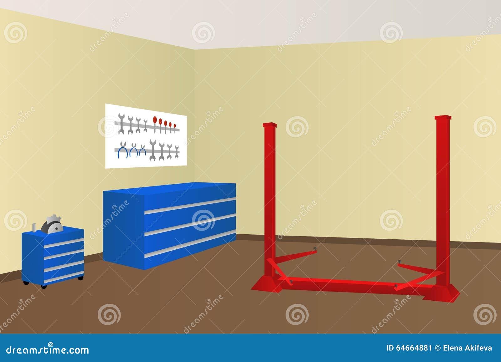 Garage Auto Repair Room Illustration Stock Vector